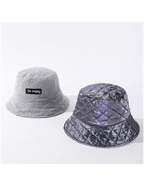 Fashion Gray Laser Double-sided Wear Solid Lamb Hat Fisherman Hat