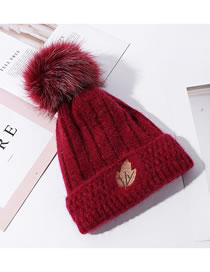 Fashion Wine Red Double Layer Plus Fluff Ball Rabbit Fur Leaf Label Knitted Hat