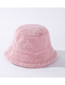 Fashion Pink Pure Lamb Wool Fisherman Hat With Pearl Lace