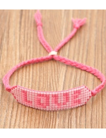 Fashion Pink Rice Beads Woven Letters Handmade Beaded Bracelet
