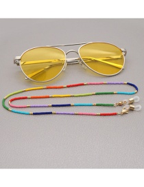 Fashion Color Mixing Rice Beads Contrasting Color Alloy Glasses Chain