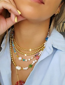 Fashion White Freshwater Pearl And Glazed Bead Flower Color Preserving Necklace