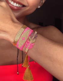 Fashion Set Price Red Handmade Rice Beads Woven Multilayer Beaded Leaf Bracelet