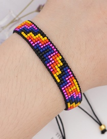 Fashion Color Mixing Contrasting Geometric Rice Beads Hand-woven Bracelet