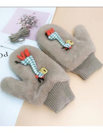 Fashion Giraffe-coffee Animal Flip Fingerless Plush Thick Warm Gloves