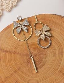 Fashion Golden Asymmetric Pearl And Diamond Circle Bow Earrings