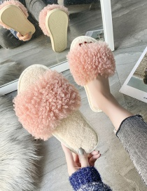 Fashion Inulin Wheat Velvet Hit Color Flat Cotton Slippers