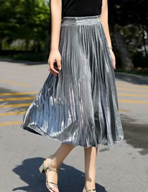 Fashion Silver Crumpled Elastic Waist Solid Color Pleated Skirt