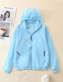 Fashion Light Blue Hooded Solid Color Loose Sun Protection Clothing