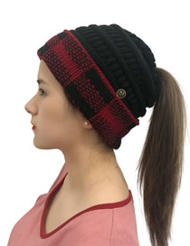 Fashion Red+black Buttoned Large Lattice Curled Knitted Ponytail Hat