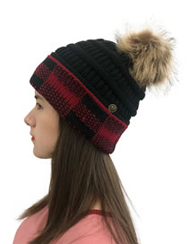 Fashion Black+red Grid Large Square Check Color Block Wool Ball Knitted Hat
