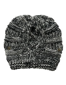 Fashion Black Flowers Button Detachable Cross-back Ponytail Knitted Hat