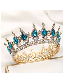 Fashion Gold Bottom Lake Blue Geometric Alloy Full Circle Crown With Rhinestones