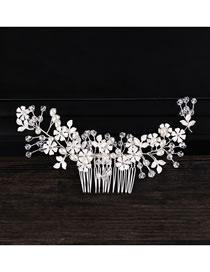 Fashion Silver Handmade Pearl Alloy Flower Insert Comb