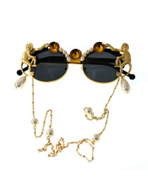 Fashion Golden Plate Carved Monkey Pearl Crystal Sunglasses