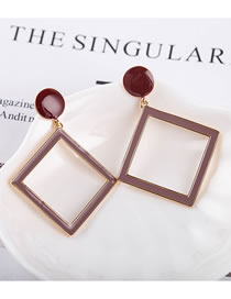 Fashion Red Wine Drop Oil Alloy Geometric Long Earrings