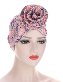 Fashion Pink Circle Spiral Flower Print Bandana Hat