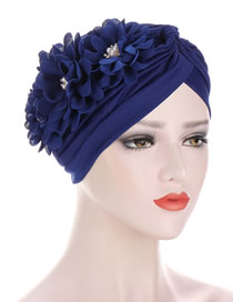 Fashion Navy Blue Pleated Applique Pearl Forehead Cross Cap