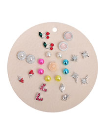 Fashion Color Mixing Diamond Heart-shaped Pearl Flower Geometric Earring Set