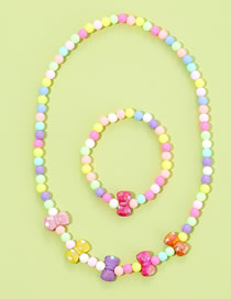 Fashion Bow Mixed Color Acrylic Flower Pearl Love Necklace Bracelet Set