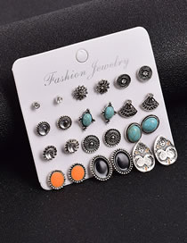 Fashion Color Mixing Geometric Round Earrings Set With Diamonds