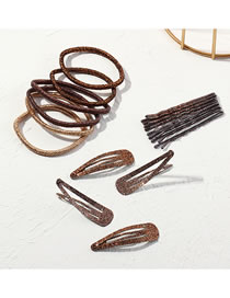 Fashion Coffee Color Gradient Color Geometric Alloy Hairpin Hair Rope Set