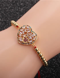 Fashion Copper Beads Red Rope + Love Micro-inlaid Zircon Love Woven Adjustable Bracelet