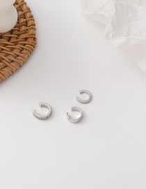 Fashion Silver Micro-inlaid Zircon Geometry Without Pierced Ear Clips