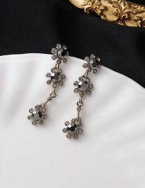 Fashion Black Long Alloy Earrings With Diamonds And Flowers
