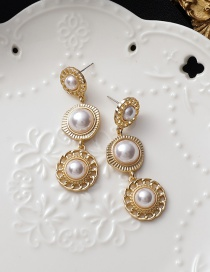 Fashion White Pearl Flower Round Alloy Earrings