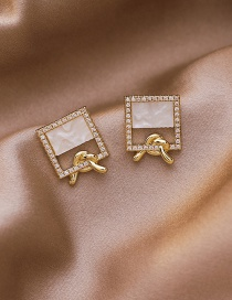 Fashion Golden Micro Inlaid Zircon Square Shell Knotted Earrings
