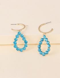 Fashion Pink Diamond Drop-shaped Alloy Cutout Earrings