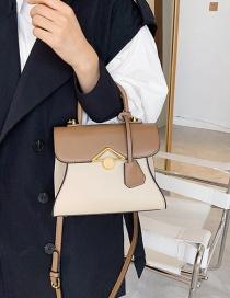 Fashion Khaki Contrasting Lock One-shoulder Crossbody Bag