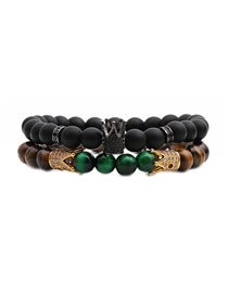 Fashion Tiger Eye Crown + Frosted Stone Crown 1 Tiger Eye Frosted Stone Crown Beaded Bracelet Set