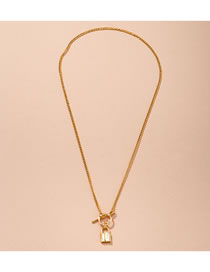 Fashion Golden Long Geometric Lock Cross Chain Necklace