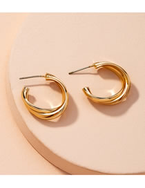 Fashion Twisted C-shaped Pearl Twisted Alloy Stud Earrings