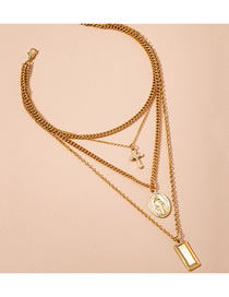 Fashion Golden Geometric Cross Alloy Multilayer Necklace