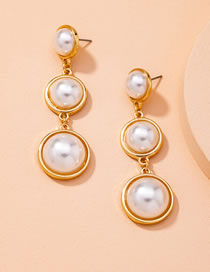 Fashion Golden Pearl Round Alloy Long Earrings