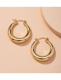 Fashion Golden 02 C Ring Twisted Smooth Alloy Earrings