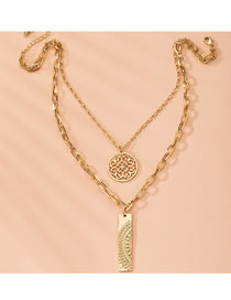 Fashion Golden Hollow Round Hollow Alloy Double-layer Necklace