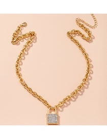Fashion Golden Diamond Lock-shaped Thick Chain Alloy Necklace