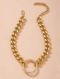 Fashion Golden Alloy Circle Thick Chain Necklace