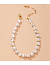 Fashion Gold And Pearl Geometric Pearl Alloy Necklace