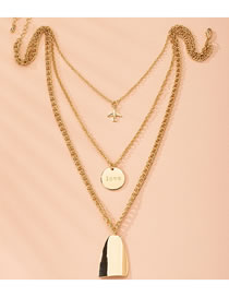 Fashion Golden Alloy Cross Chain Round Geometric Multilayer Necklace