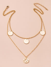 Fashion Golden Map Round Alloy Multilayer Necklace