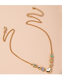 Fashion Rose Gold Love Five-pointed Star Drop Oil Geometric Alloy Necklace