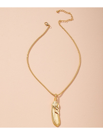 Fashion Golden Alloy Feather Water Wave Chain Geometric Necklace