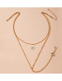 Fashion Golden Diamond Eye Key Alloy Multilayer Necklace