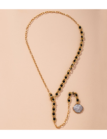 Fashion Golden Geometric Pearl Shell Snake Bone Chain Necklace