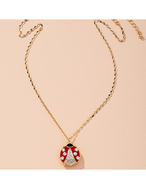 Fashion Red Seven-spot Ladybug Insect Diamond Drop Oil Alloy Necklace